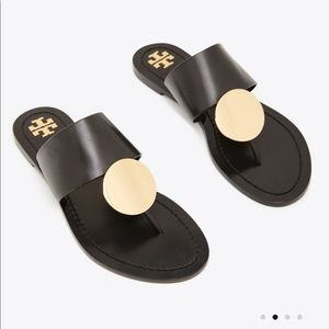 Tory Burch Patos gold disk thong sandals 6.5